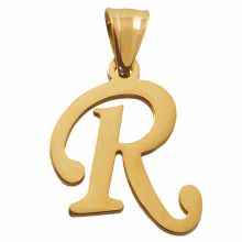 Stainless Steel Letter Pendant R (32 mm) Gold (1 pc)