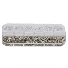 Assortment Box - Jump Rings (6 various sizes) Antique Silver