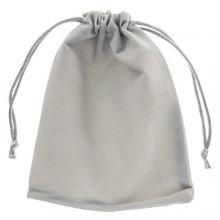 Velvet jewellery pouches (15 x 12 cm) Grey (5 pcs)
