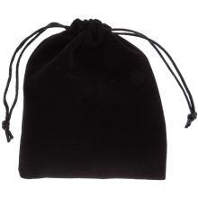 Velvet jewellery pouches (15 x 12 cm) Black (5 pcs)