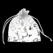 Organza Bags (11 x 16 cm) White & Silver (25 pcs)