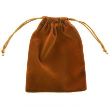 Velvet jewellery pouches (15 x 12 cm) Rust Brown (5 pcs)
