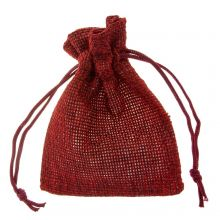 Jute Jewelry Pouches (9 x 7 cm) Dark Red (10 pcs)