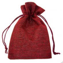 Jute Jewelry Pouches (10 x 14 cm) Dark Red (10 pcs)