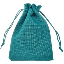 Jute Jewelry Pouches (10 x 14 cm) Turquoise (10 pcs)