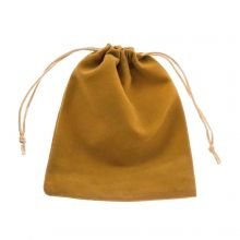 Velvet jewellery pouches (10 x 12 cm) Ocher (5 pcs)