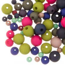 Bead Mix  - Acrylic Beads Mat (4 - 6 - 8 mm) Mix Color (50 gram)