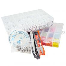 Bead Kit - Letter Beads (7 x 4 mm - White) Seed Beads (4 mm - Mix Color) and Various Tools