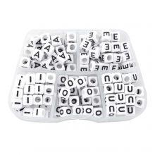 Bead Kit - Letter Beads Vowels (6 x 6 mm) White (35 beads per letter)