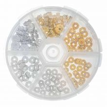 Bead Kit - Rhinestone Spacers (Various Sizes) Gold / Silver (120 pieces)