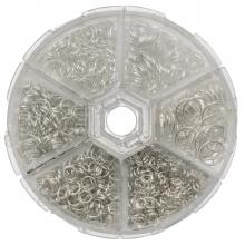 Assortment Box - Jump Rings (6 various sizes / 4 til 10 mm x 0.7 til 1mm thickness) Silver (1600 pcs)