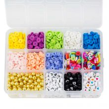 Bead Kit - Acrylic and Polymer Clay Beads (6 - 8 mm) Mix Color (2550 pcs)