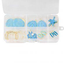 Jewelry Making Kit - Shell Earrings (various sizes) Gold/Blue (12 pcs)