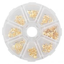 Stud Earrings Kit with Backs (various sizes) Gold (70 pcs)