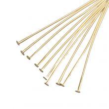 Head Pins (35 mm) Gold (100 pcs) Thick 0.6 mm