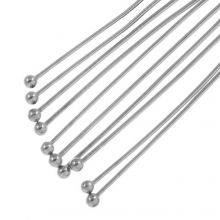 Stainless Steel Head Pins (60 mm) Antique Silver (50 pcs) Thick 0.5 mm