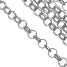 Stainless Steel Rolo Chain (4 x 1 mm) Antique Silver (1 Meter)