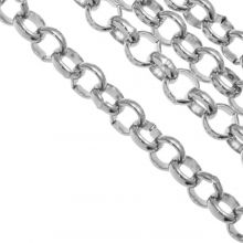 Stainless Steel Rolo Chain (5 x 1.2 mm) Antique Silver (1 Meter)