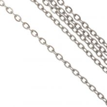Stainless Steel Rolo Chain (2 x 1.5 x 0.4 mm) Antique Silver (10 Meter)