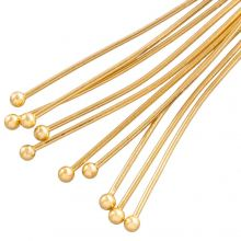 Stainless Steel Head Pins (40 mm) Gold (50 pcs) Thick 0.7 mm