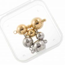 Bead Kit - Stainless Steel Magnetic Clasps (3 different sizes) Antique Silver (6 pcs)