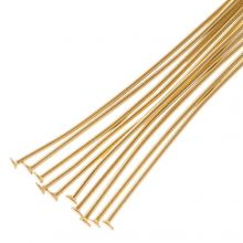 Stainless Steel Head Pins (35 mm) Gold (25 pcs) Thick 0.7 mm