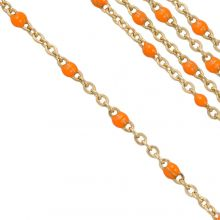 Stainless Steel Rolo Chain (2 x 1.5 mm) Orange / Gold (2.5 Meter)