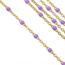 Stainless Steel Rolo Chain (2 x 1.5 mm) Purple / Gold (2.5 Meter)