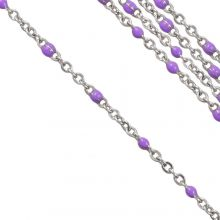 Stainless Steel Rolo Chain (2 x 1.5 mm) Purple / Antique Silver (2.5 Meter)