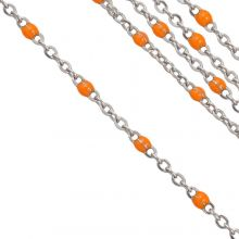 Stainless Steel Rolo Chain (2 x 1.5 mm) Orange / Antique Silver (2.5 Meter)