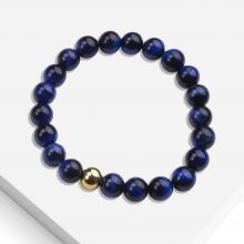 Bracelet With Natural Stone Beads (8 mm) Blue Tiger Eye (1 piece)