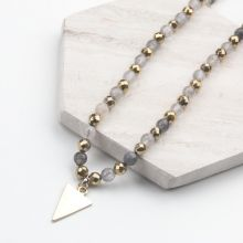 Necklace with Natural Smokey Quartz Beads (54 cm) Mix Color (1 piece)