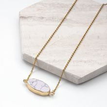 Stainless Steel Necklace with Marble Pendant White (45 cm) Gold (1 piece)