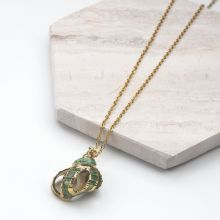 Stainless Steel Necklace With Shell Green (45 cm) Gold (1 piece)