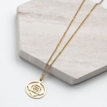 Stainless Steel Necklace Flower (40 cm) Gold (1 piece)