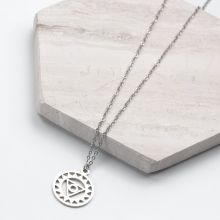 Stainless Steel Necklace Third Eye (40 cm) Antique Silver (1 piece)