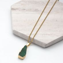Stainless Steel Necklace with Druzy Pendant Green (45 cm) Gold (1 piece)