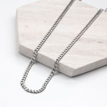 Stainless Steel Chain with Large Links (46 cm) Antique Silver (1 piece)