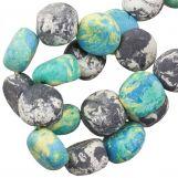 Ceramic Beads (16 x 8 mm) Blue Stone (13 pcs)