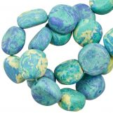 Ceramic Beads (16 x 8 mm) Blue Blue Lagoon (13 pcs)