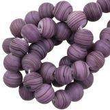 Glass beads Mat Striped (8 x 9 mm) Purple (21 pcs)