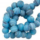Glass beads Mat Striped (8 x 9 mm) Sky Blue (21 pcs)