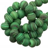 Glass beads Mat Striped (8 x 9 mm) Bright Green (21 pcs)