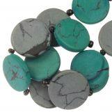 Ceramic Beads (23 x 3.5 mm) Grey / Green (8 pcs)