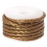 DQ Braided Leather Metallic (3 mm) Sepia (2.5 Meter)