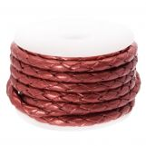 DQ Braided Leather Metallic (3 mm) Red (2.5 Meter)