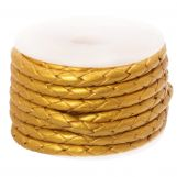 DQ Braided Leather Metallic (3 mm) Gold (2.5 Meter)