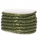 DQ Braided Leather Metallic (3 mm) Olive Green (2.5 Meter)