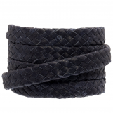 Oval Braided DQ Leather (10 x 3 mm) Dark Blue (1 meter)