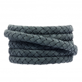 Oval Braided DQ Leather (6 x 3 mm) Stone Blue Grey (1 meter)